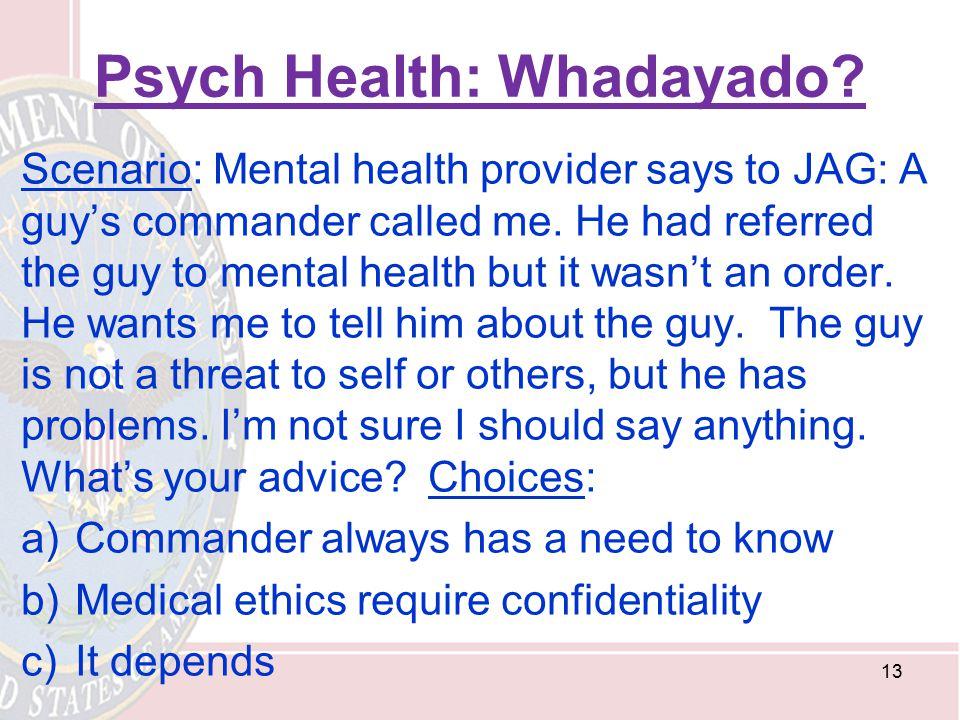 Psych Health: Whadayado