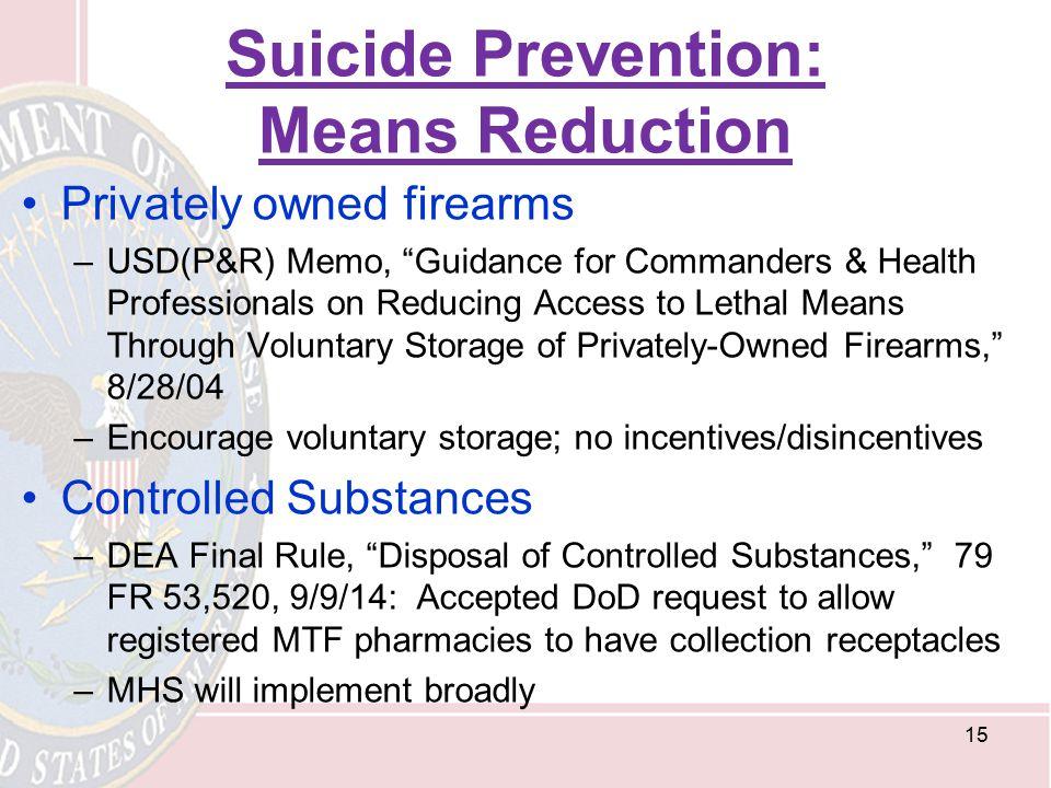 Suicide Prevention: Means Reduction