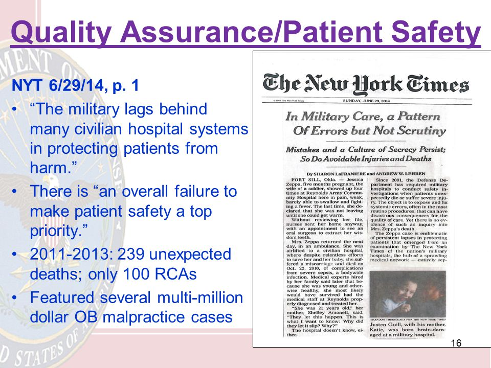 Quality Assurance/Patient Safety