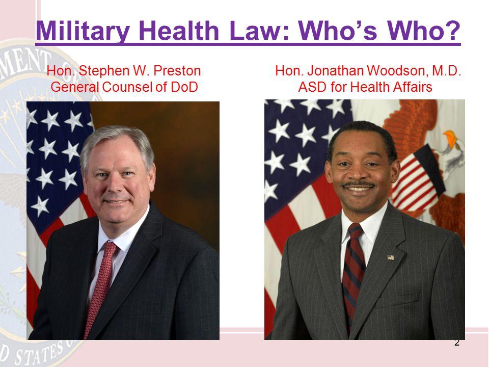 Military Health Law: Who's Who. Hon. Stephen W. Preston Hon