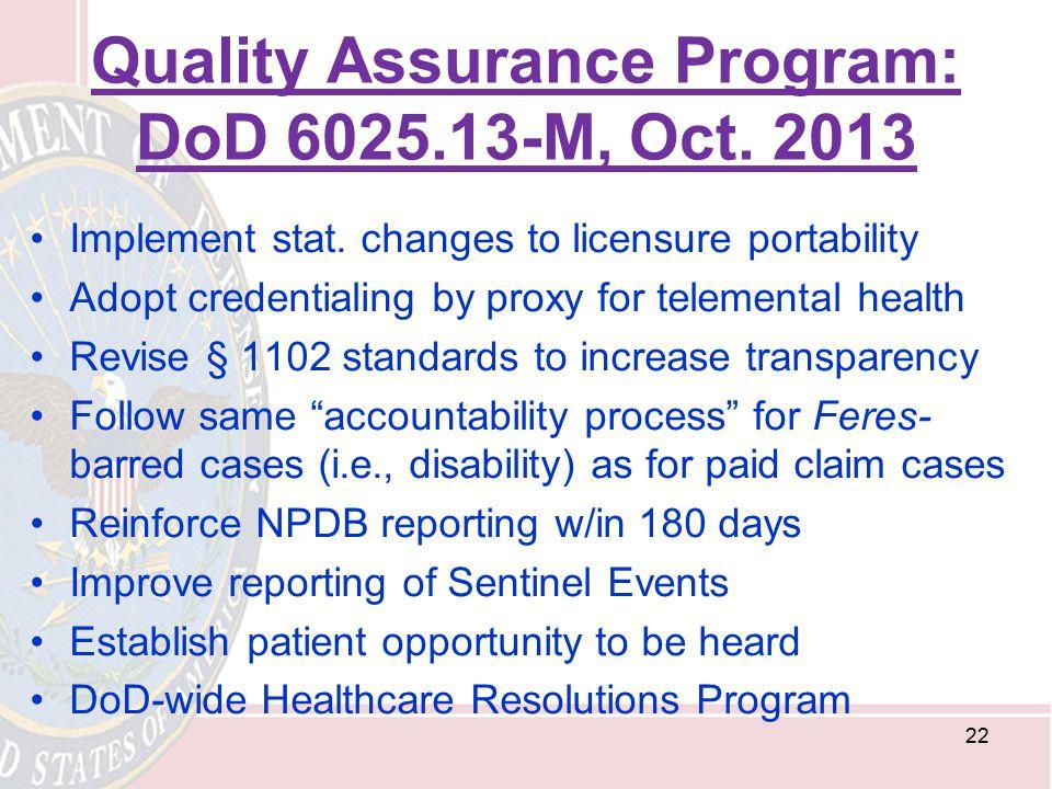 Quality Assurance Program: DoD 6025.13-M, Oct. 2013