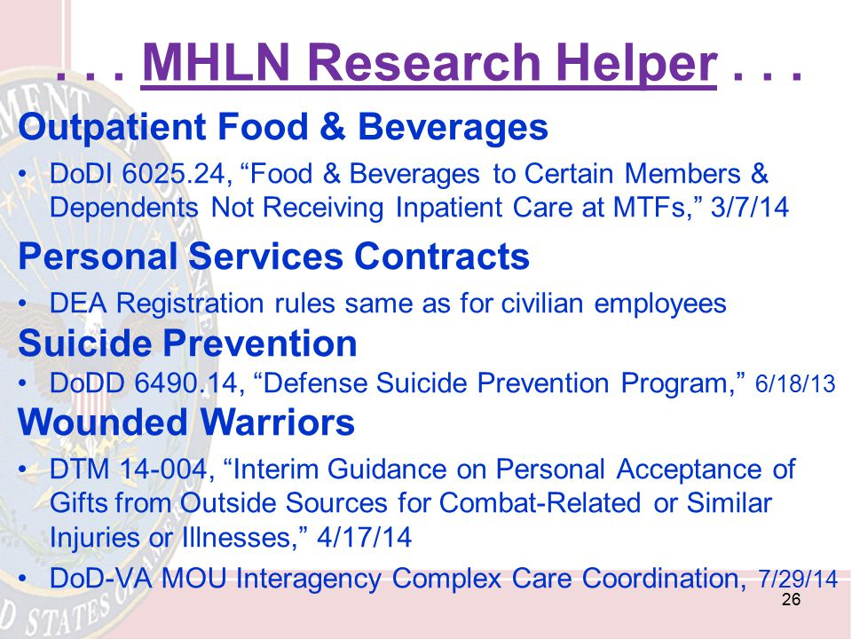 . . . MHLN Research Helper . . . Outpatient Food & Beverages