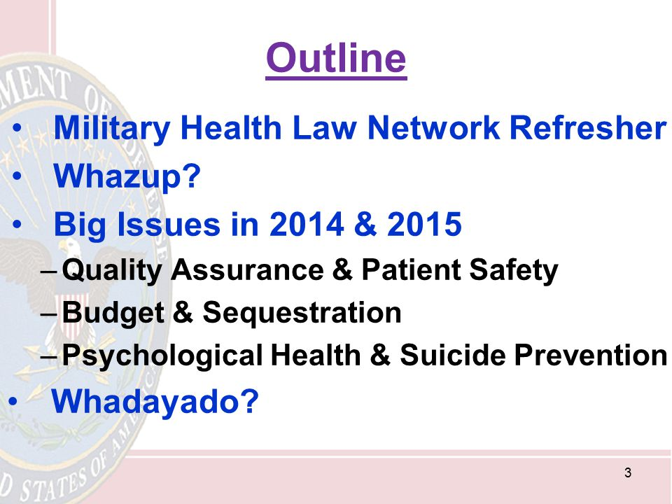Outline Military Health Law Network Refresher Whazup