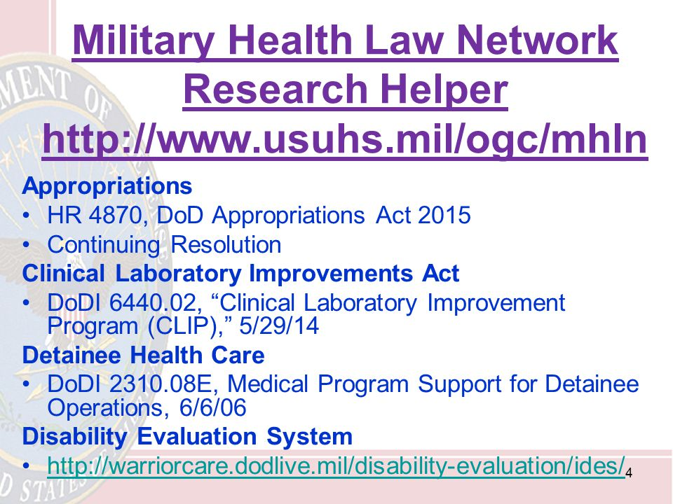 Military Health Law Network Research Helper http://www. usuhs