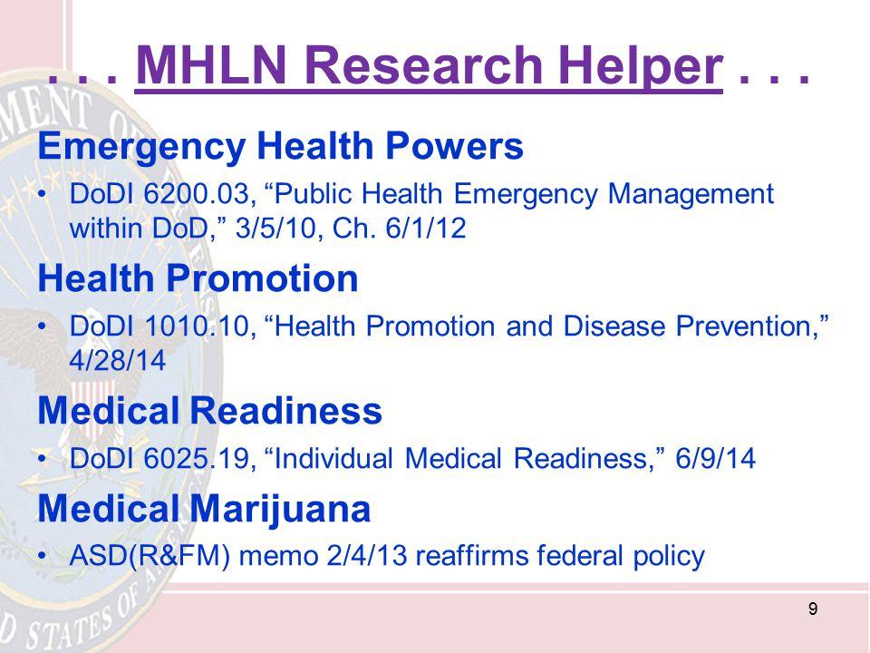 . . . MHLN Research Helper . . . Emergency Health Powers