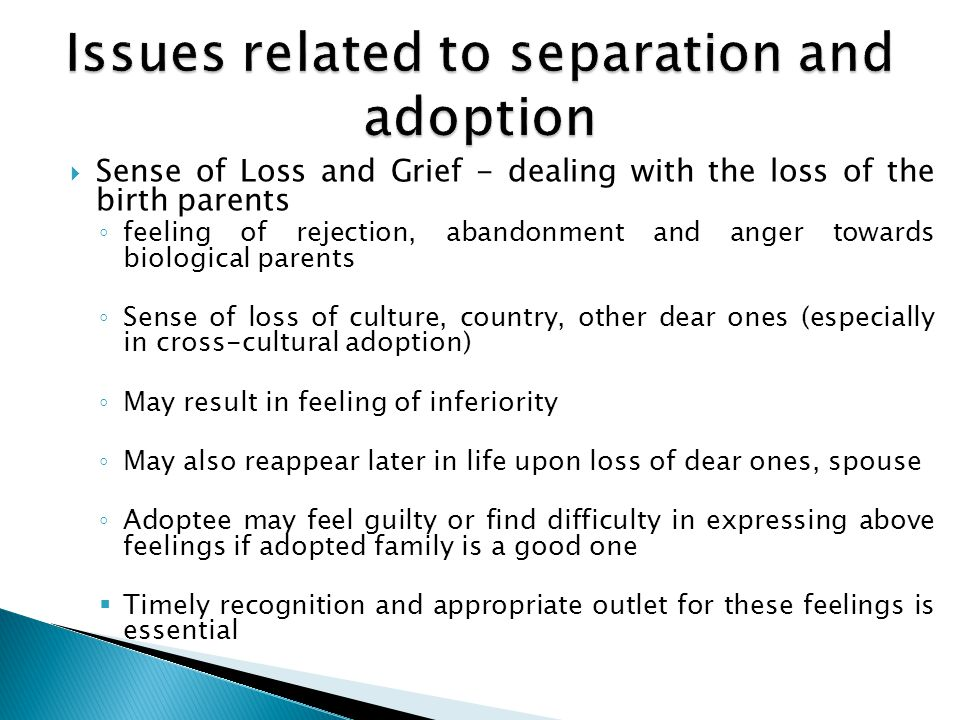 Issues related to separation and adoption