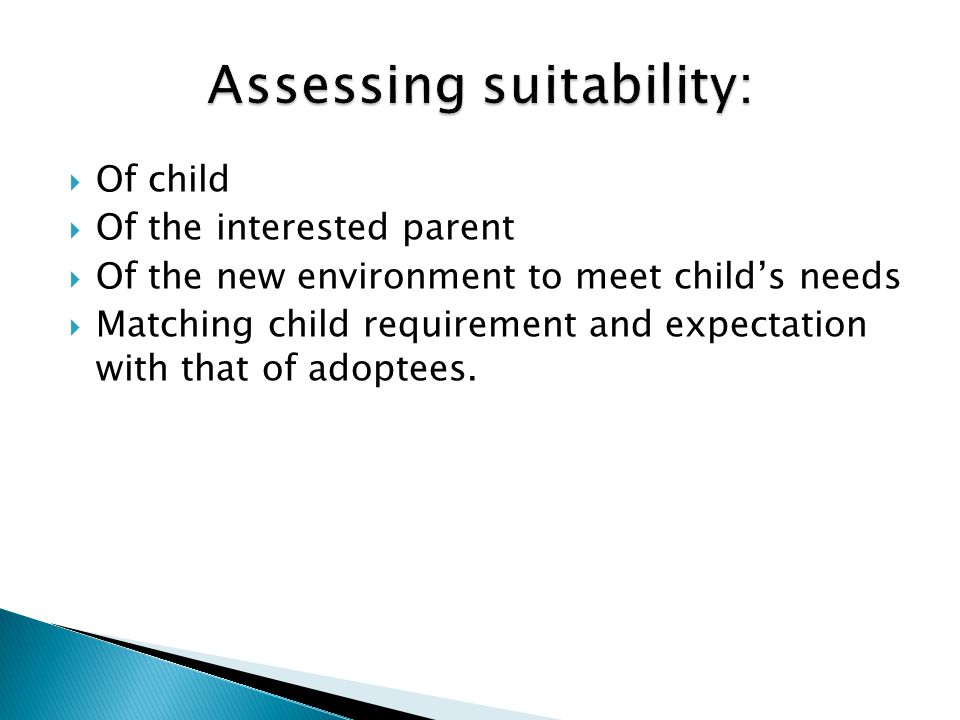 Assessing suitability: