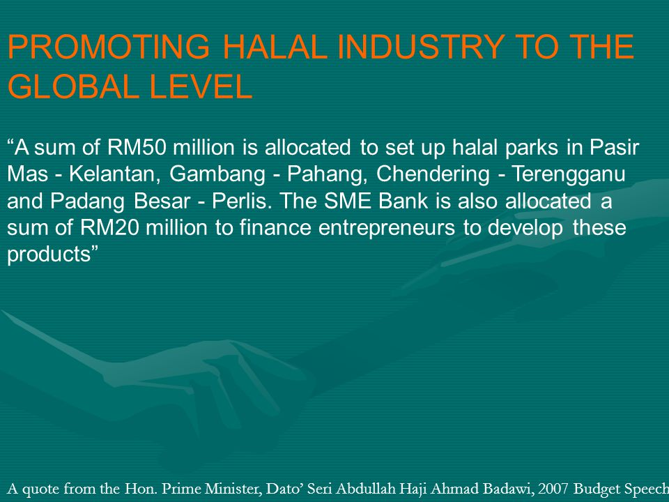 PROMOTING HALAL INDUSTRY TO THE GLOBAL LEVEL