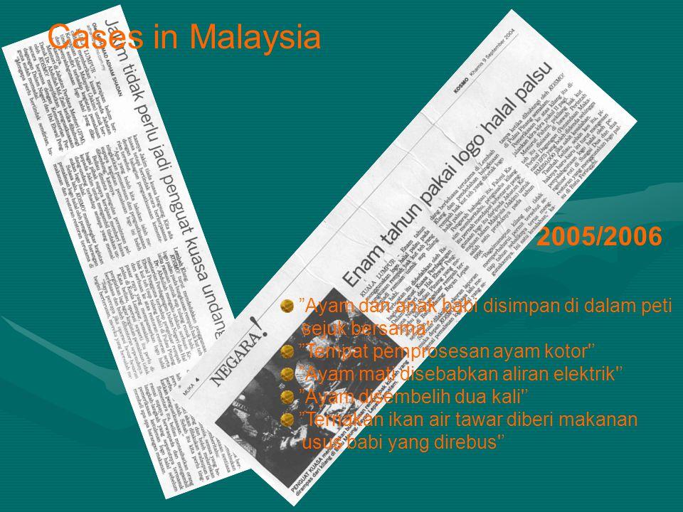 Cases in Malaysia 2005/2006 Ayam dan anak babi disimpan di dalam peti