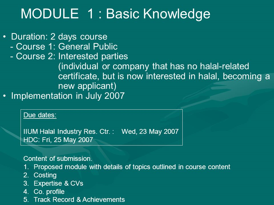 MODULE 1 : Basic Knowledge