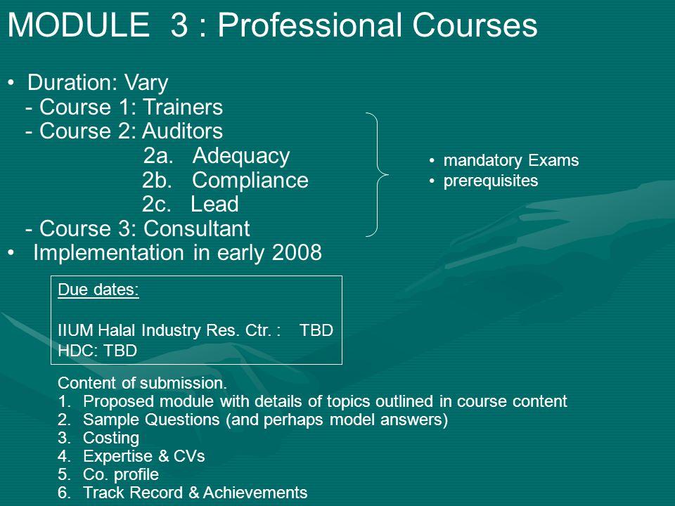 MODULE 3 : Professional Courses