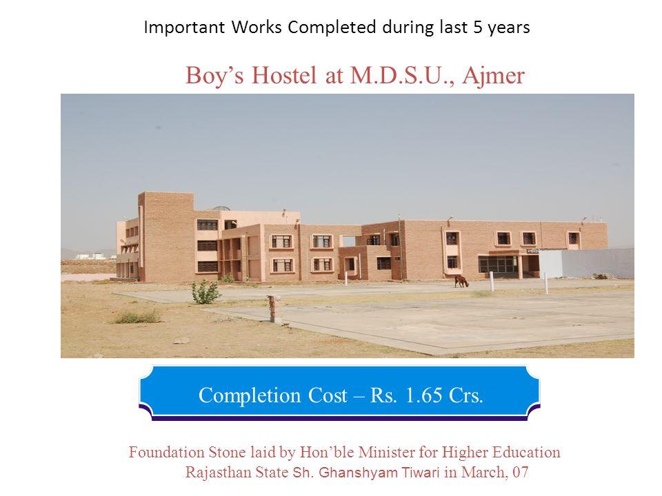 Boy's Hostel at M.D.S.U., Ajmer