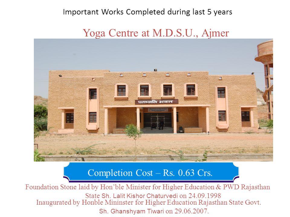 Yoga Centre at M.D.S.U., Ajmer