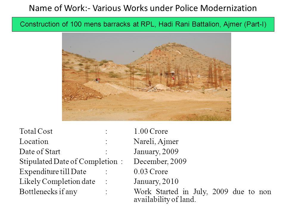 Name of Work:- Various Works under Police Modernization