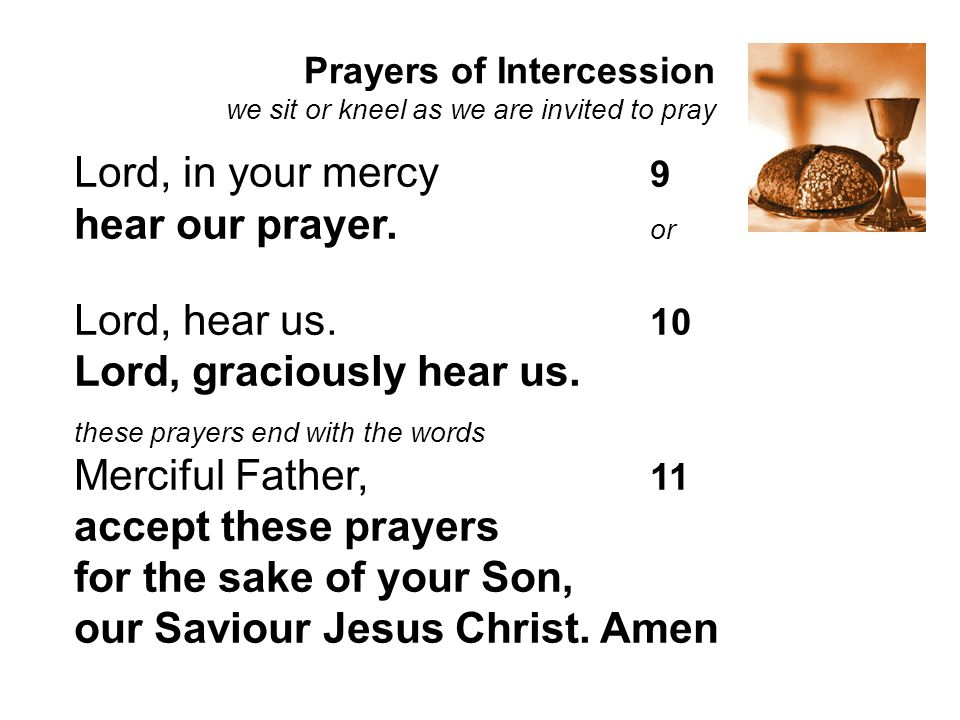 Lord, graciously hear us. Merciful Father, 11 accept these prayers