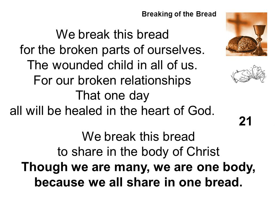 for the broken parts of ourselves. The wounded child in all of us.