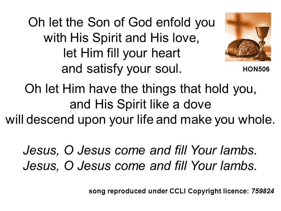 Oh let the Son of God enfold you with His Spirit and His love,