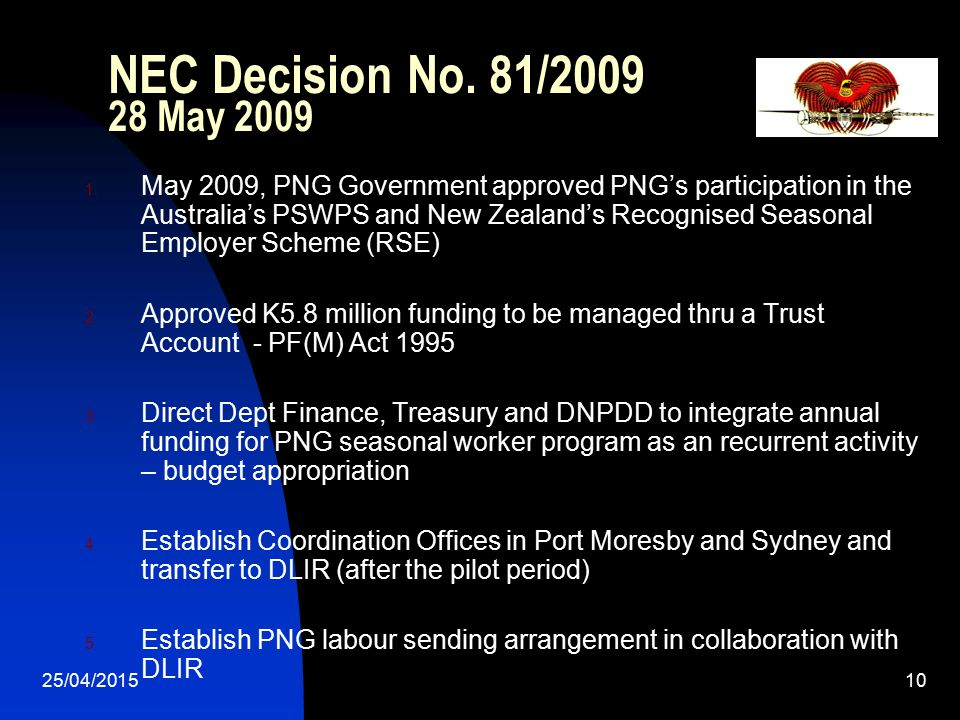 NEC Decision No. 81/2009 28 May 2009