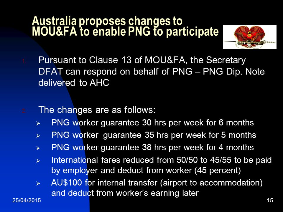 Australia proposes changes to MOU&FA to enable PNG to participate