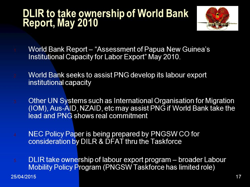 DLIR to take ownership of World Bank Report, May 2010