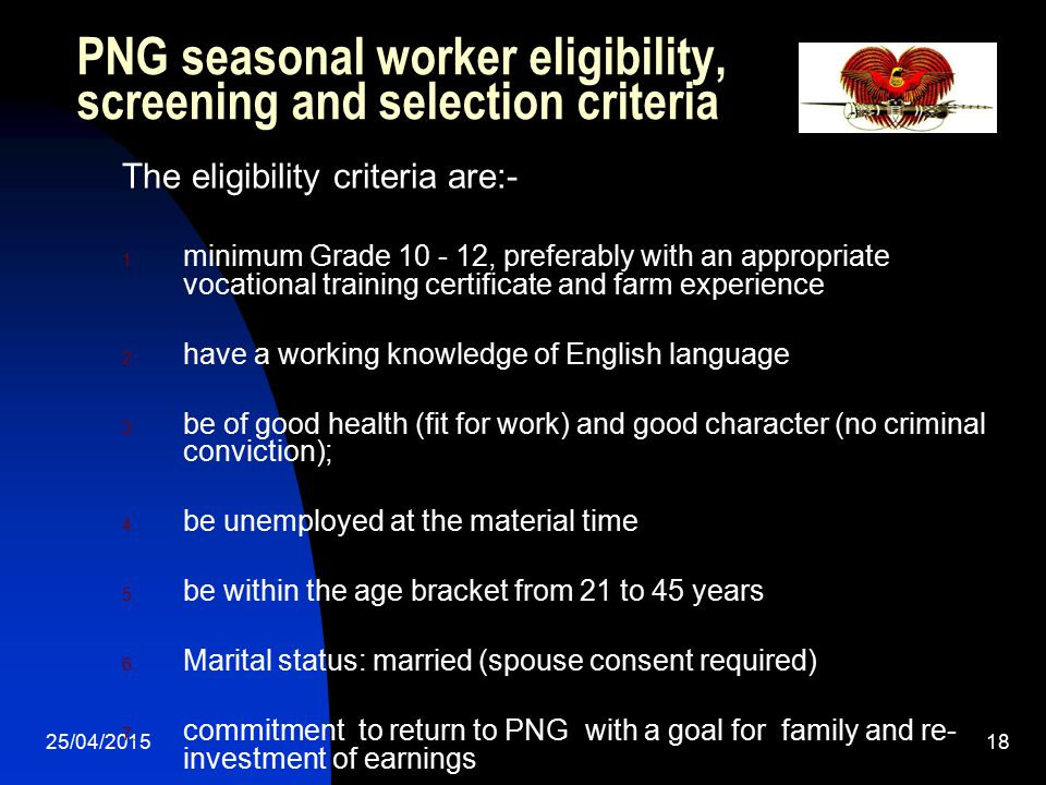 PNG seasonal worker eligibility, screening and selection criteria