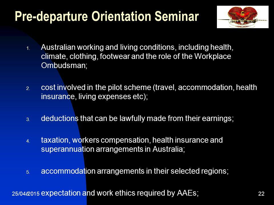 Pre-departure Orientation Seminar