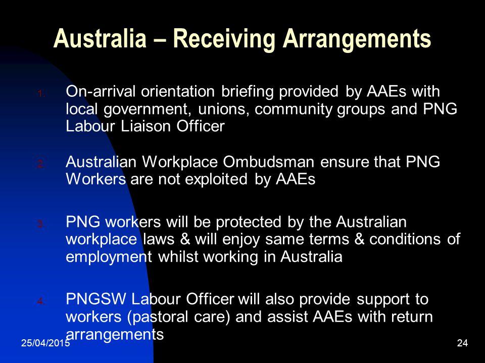 Australia – Receiving Arrangements
