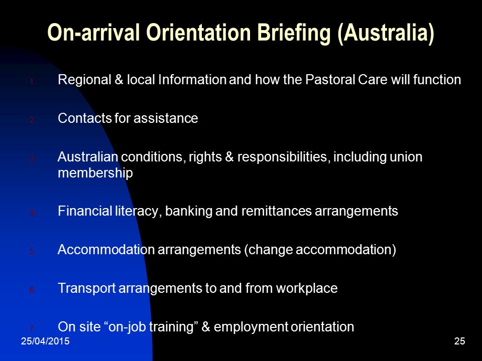 On-arrival Orientation Briefing (Australia)
