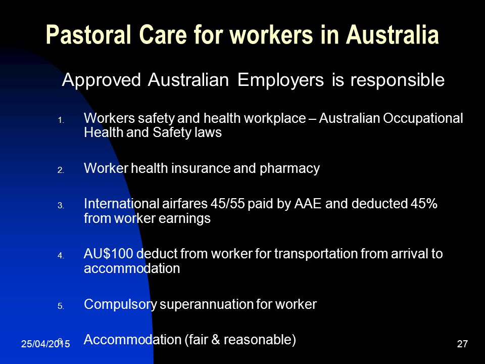 Pastoral Care for workers in Australia