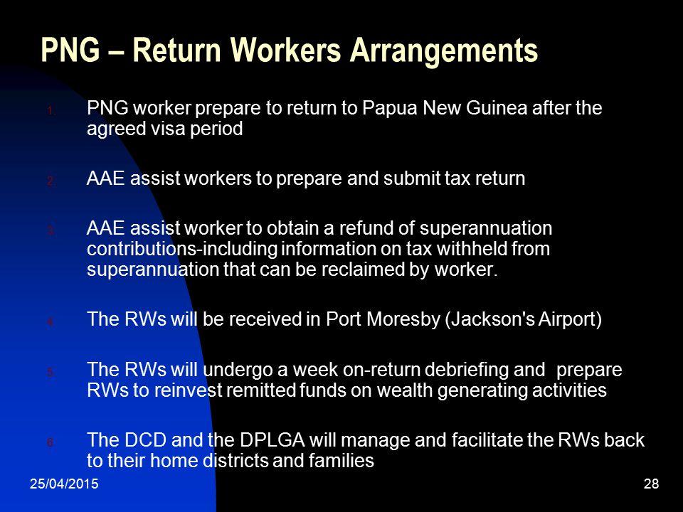 PNG – Return Workers Arrangements