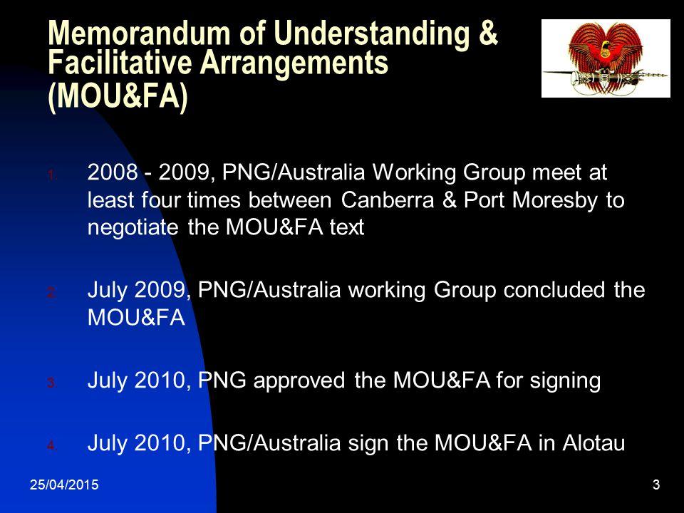 Memorandum of Understanding & Facilitative Arrangements (MOU&FA)