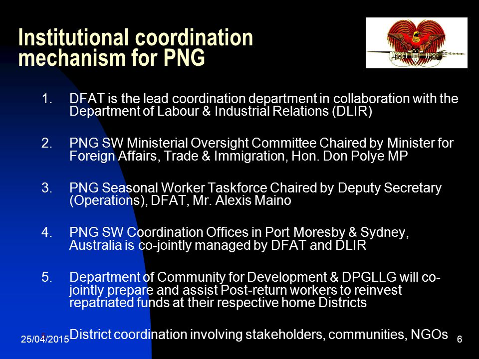 Institutional coordination mechanism for PNG