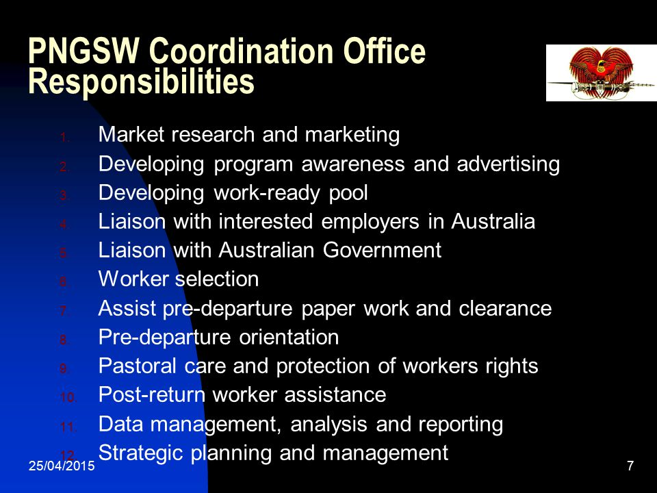PNGSW Coordination Office Responsibilities