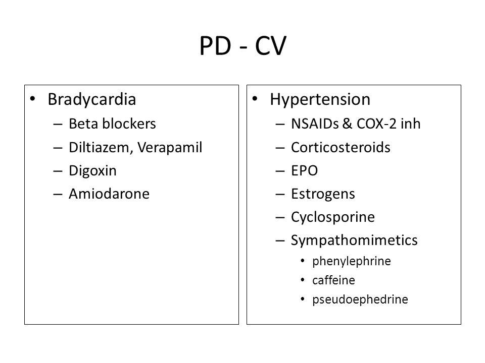 PD - CV Bradycardia Hypertension Beta blockers Diltiazem, Verapamil