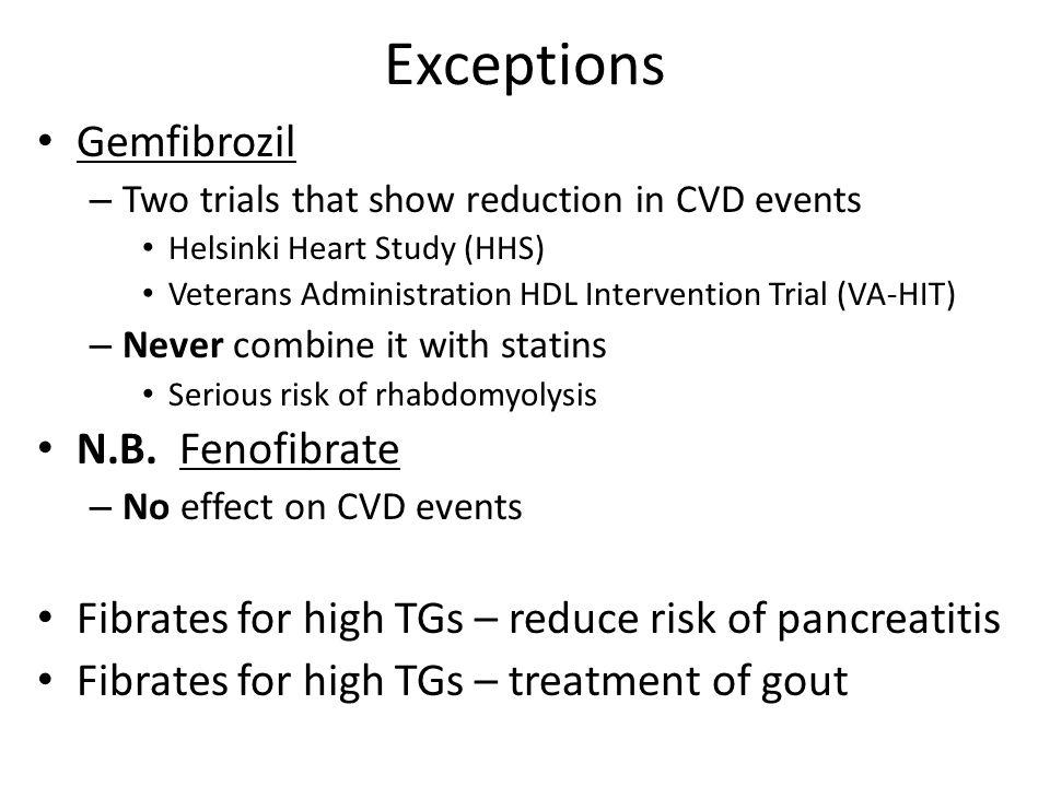 Exceptions Gemfibrozil N.B. Fenofibrate
