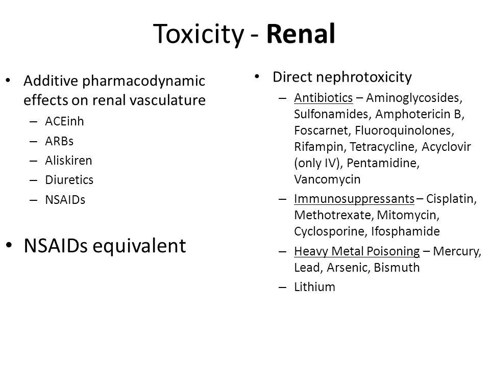 Toxicity - Renal NSAIDs equivalent Direct nephrotoxicity