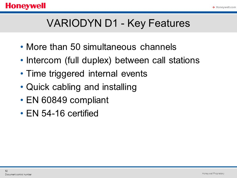 VARIODYN D1 - Key Features