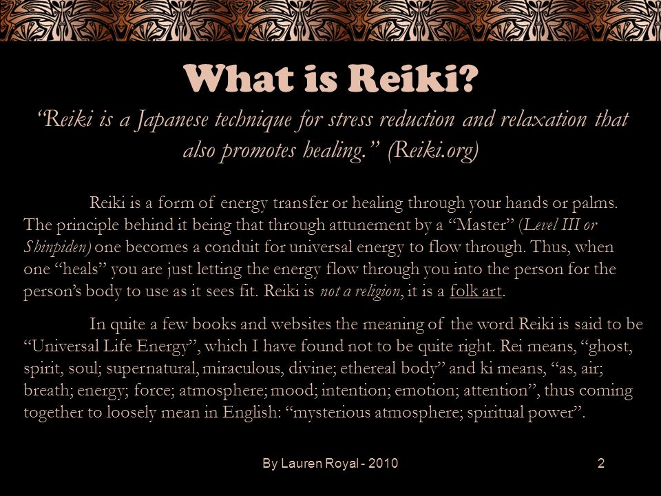 What is Reiki Reiki is a Japanese technique for stress reduction and relaxation that also promotes healing. (Reiki.org)