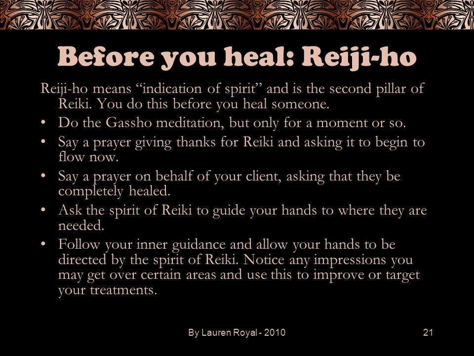 Before you heal: Reiji-ho