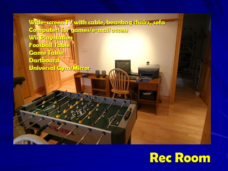 Rec Room Rec Room Wide-screen TV with cable, beanbag chairs, sofa