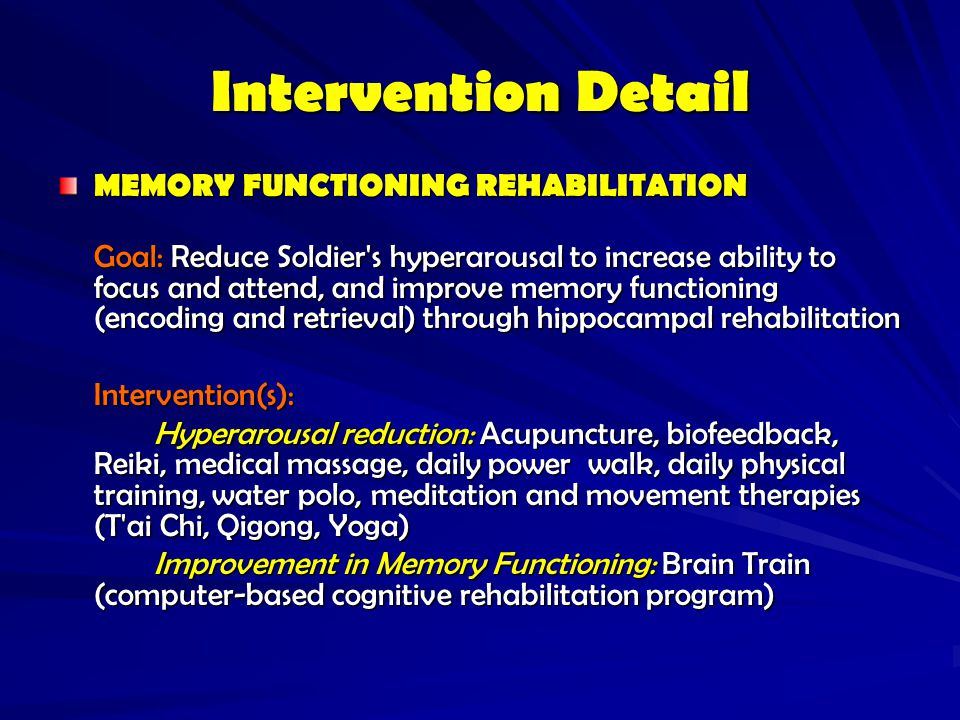 Intervention Detail MEMORY FUNCTIONING REHABILITATION