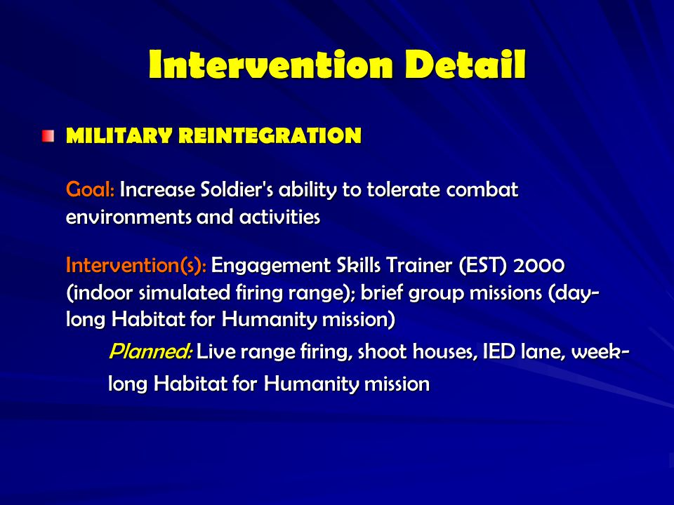 Intervention Detail MILITARY REINTEGRATION. Goal: Increase Soldier s ability to tolerate combat environments and activities.