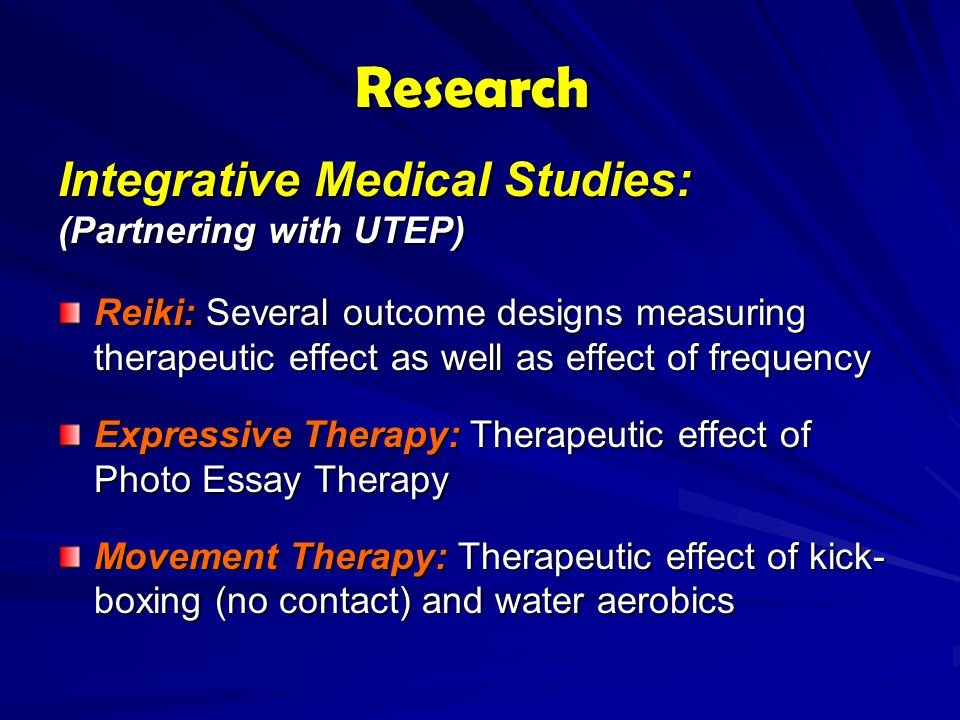 Research Integrative Medical Studies: (Partnering with UTEP)