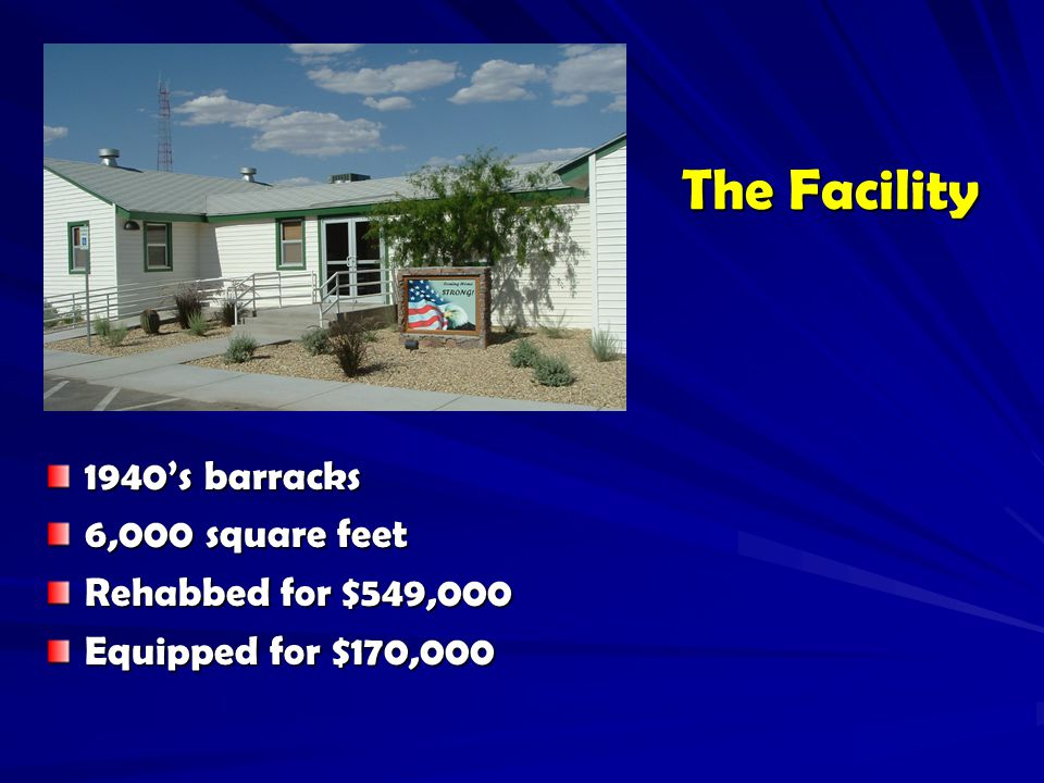 The Facility 1940's barracks 6,000 square feet Rehabbed for $549,000