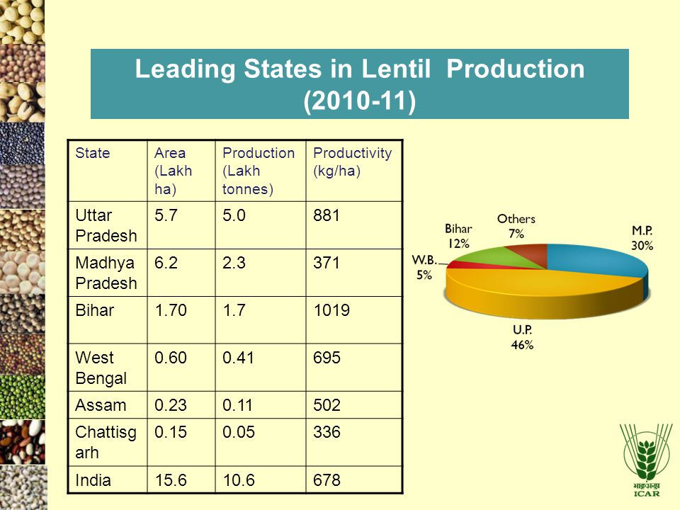 Leading States in Lentil Production