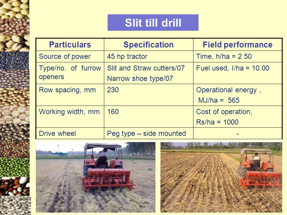 Slit till drill Particulars Specification Field performance