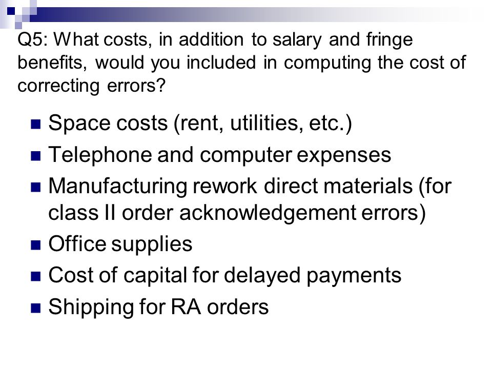 Space costs (rent, utilities, etc.) Telephone and computer expenses