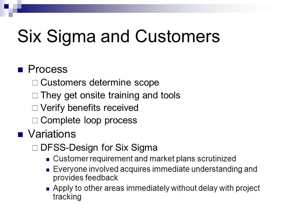 Six Sigma and Customers