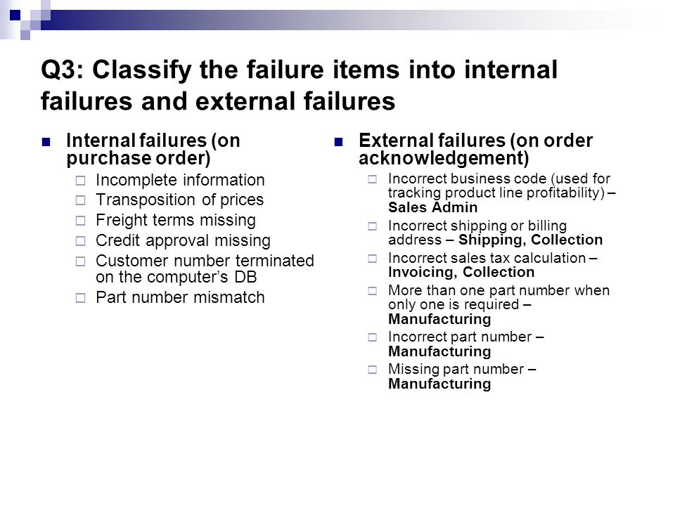 Q3: Classify the failure items into internal failures and external failures