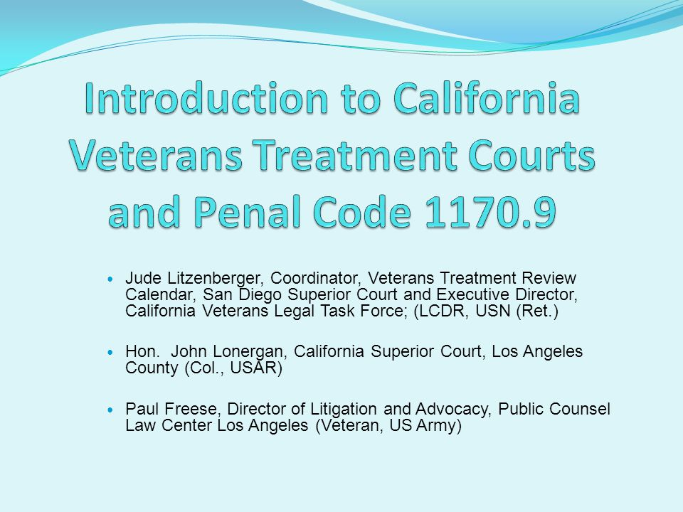Introduction to California Veterans Treatment Courts and Penal Code 1170.9